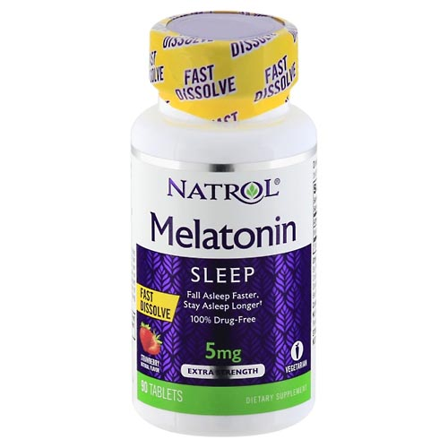 Image for Natrol Melatonin, Extra Strength, 5 mg, Strawberry, Tablets 90 ea from Mikes Pharmacy