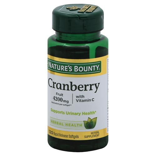 Image for Natures Bounty Cranberry, with Vitamin C, Rapid Release Softgels 120 ea from Mikes Pharmacy