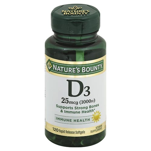 Image for Natures Bounty Vitamin D3, 25 mcg, Rapid Release Softgels 120 ea from Mikes Pharmacy