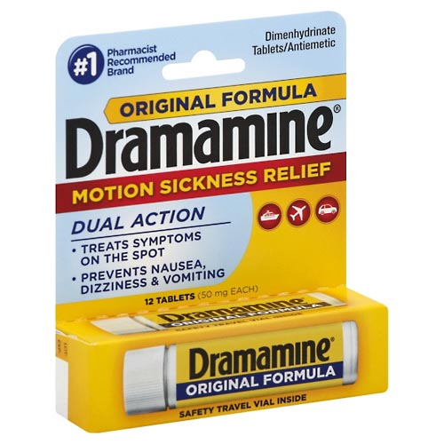 Image for Dramamine Motion Sickness Relief, Original Formula, 50 mg, Tablets 12 ea from Mikes Pharmacy