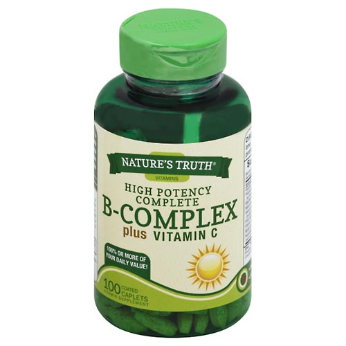 Image for Natures Truth B-Complex, Plus Vitamin C, High Potency Complete, Coated Caplets 100 ea from Mikes Pharmacy