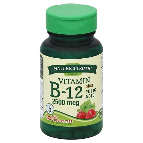Image for Natures Truth Vitamin B-12, 2500 mcg, Plus Folic Acid, Fast Dissolve Tabs, Natural Berry Flavor 60 ea from Mikes Pharmacy