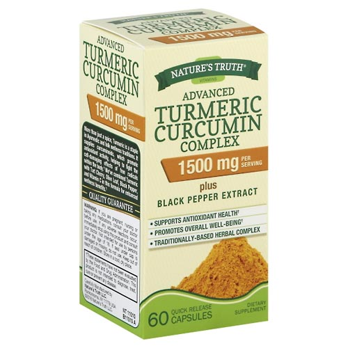 Image for Natures Truth Turmeric Curcumin Complex, Plus Black Pepper Extract, Advanced, 1500 mg, Quick Release Capsules 60 ea from Mikes Pharmacy
